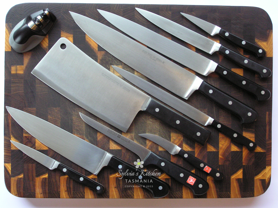 Sylvia's treasured knives from 1980s to present day on wood-end grain chopping board