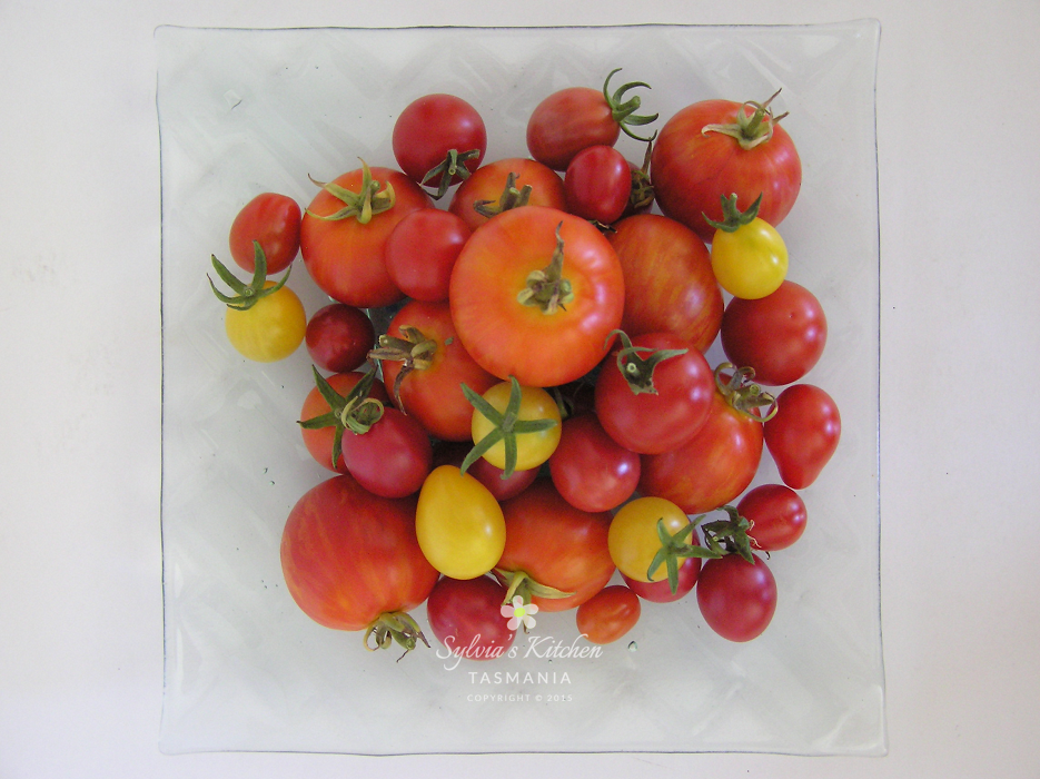Sylvia's Summer Tomatoes on Steve's Glass Platter