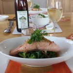 Chinese Steamed Salmon with 2012 Three Wishes Riesling