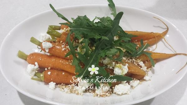 Sylvia's Baby Carrots Goat's Curd Hazelnut crumbs & Puffed Quinoa