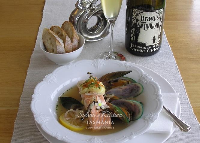 Cider Poached Salmon Mussels Aioli