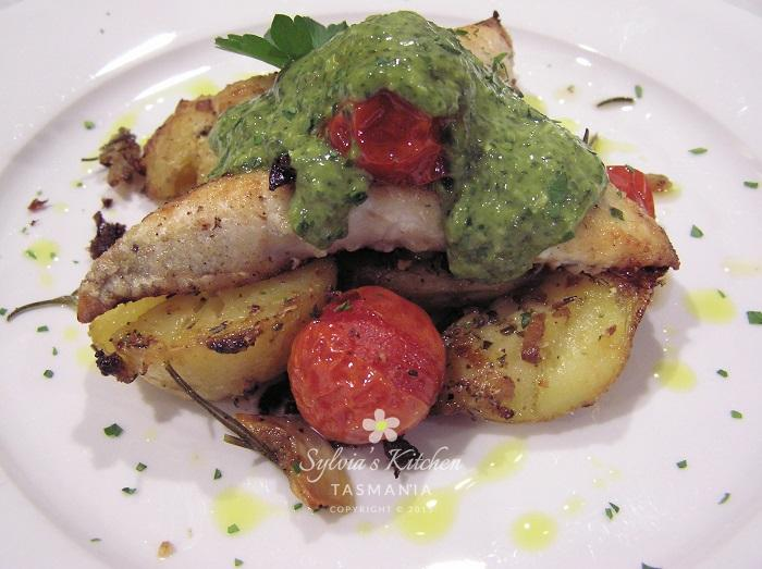Preserved Lemon Potatoes Flathead Roasted Tomatoes Pesto