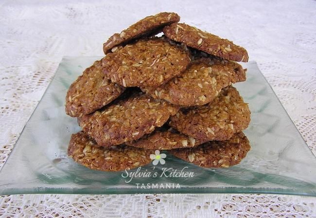 Sylvia's Special Anzac Biscuits on Steve's Glass Platter