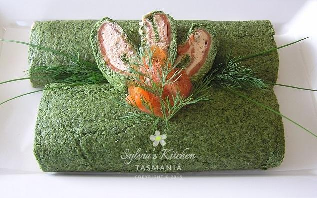 Sylvia's Salmon Spinach Roulade
