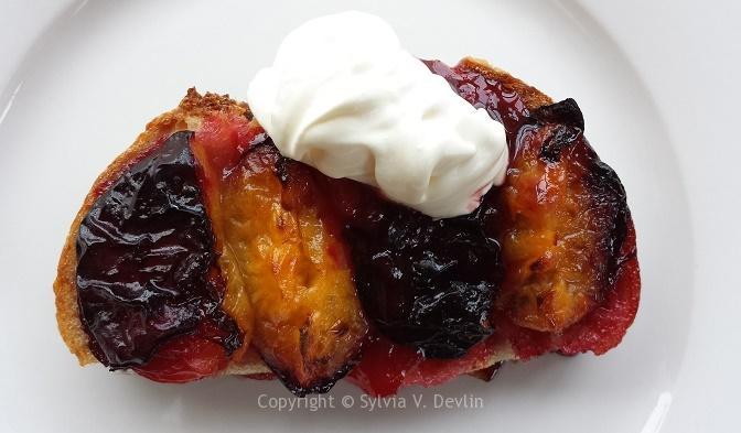 Sylvia's Plum Bruschetta Crème Fraiche